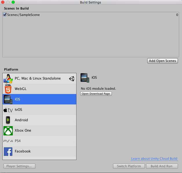 Unity mac export